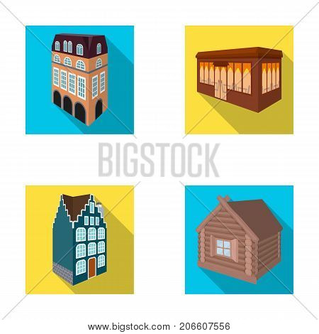 Residential house in English style, a cottage with stained-glass windows, a cafe building, a wooden hut. Architectural building set collection icons in flat style vector symbol stock illustration .