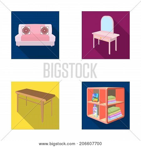 Soft sofa, toilet make-up table, dining table, shelving for laundry and detergent. Furniture and interior set collection icons in flat style isometric vector symbol stock illustration .