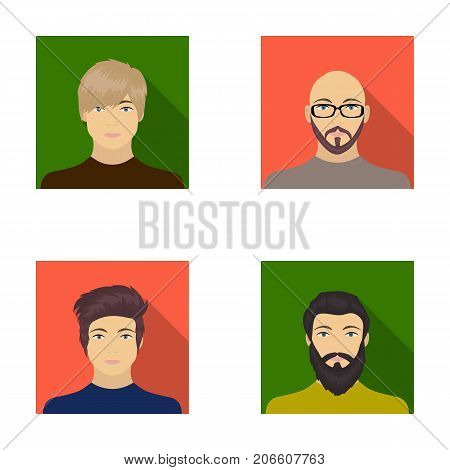The face of a Bald man with glasses and a beard, a bearded man, the appearance of a guy with a hairdo. Face and appearance set collection icons in flat style vector symbol stock illustration .