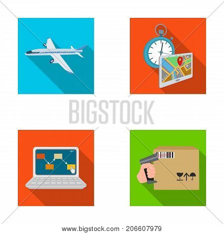 Transport aircraft, delivery on time, computer accounting, control and accounting of goods. Logistics and delivery set collection icons in flat style isometric vector symbol stock illustration .