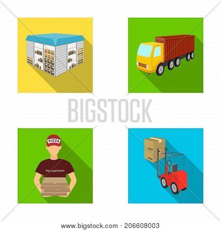 Truck, courier for delivery of pizza, forklift, storage room. Logistics and delivery set collection icons in flat style isometric vector symbol stock illustration .