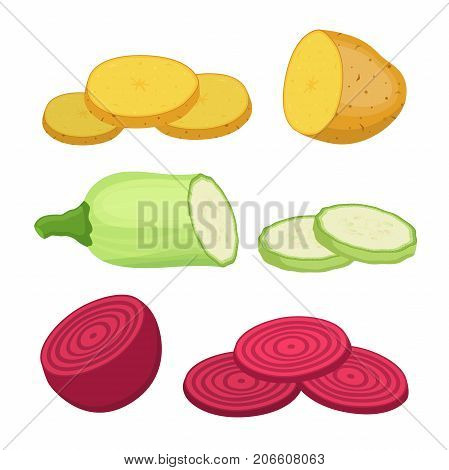 Ripe vegetables - potato, beet, zucchini and slices. Vegetarian food. Made in cartoon flat style. Vector illustration