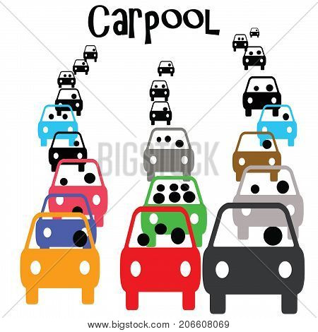 green carpool vehicle in commuter traffic  illustration