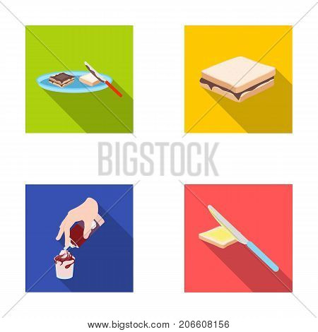 Dessert with cream, a sandwich and other food. Food set collection icons in flat style vector symbol stock illustration .