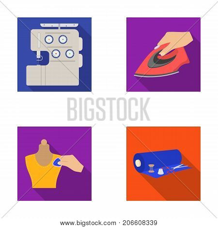 Electric sewing machine, iron for ironing, marking with chalk clothes, roll of fabric and other equipment. Sewing and equipment set collection icons in flat style vector symbol stock illustration .