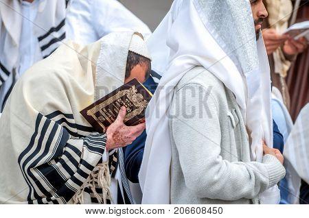 Prayer. Hasids Pilgrims In Traditional Clothes. Uman, Ukraine - September 21, 2017: Rosh-ha-shana Fe