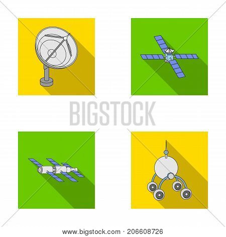Radio radar, docking in space spacecraft, Lunokhod. Space technology set collection icons in flat style vector symbol stock illustration .