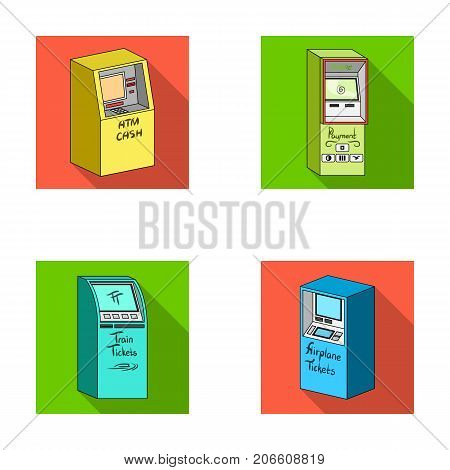 Cash machine for cash, terminal for payment, ticket machine. Terminals set collection icons in flat style isometric vector symbol stock illustration .