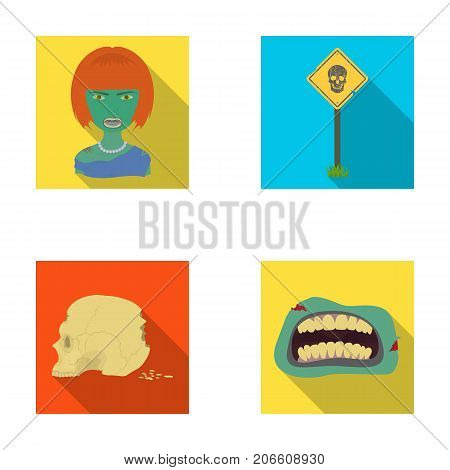 Apocalypse, Halloween, blood, and other  icon in flat style., Mouth, teeth, skin icons in set collection.