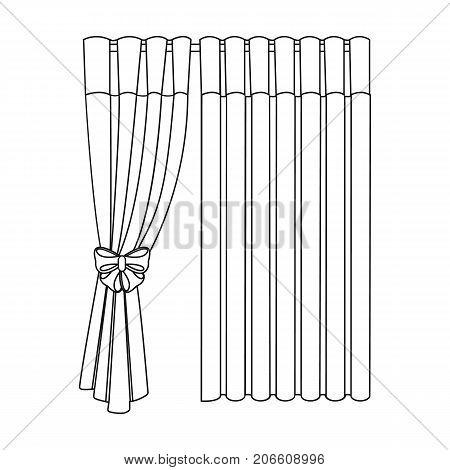Curtains, single icon in outline style.Curtains, vector symbol stock illustration .