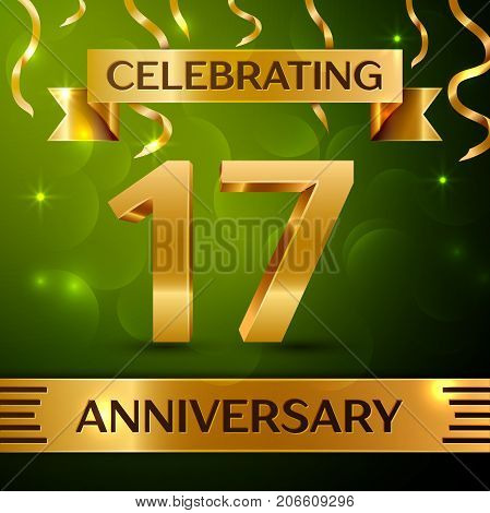 Realistic Seventeen Years Anniversary Celebration Design. Confetti and gold ribbon on green background. Colorful Vector template elements for your birthday party. Anniversary ribbon