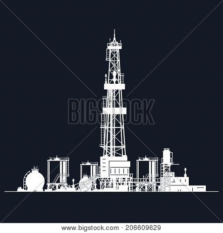 White Silhouette Drilling Rig on Black Background Oil Rig with Tanks for Fuel Storage and Warehouse Outbuildings Oil Well Drilling Illustration