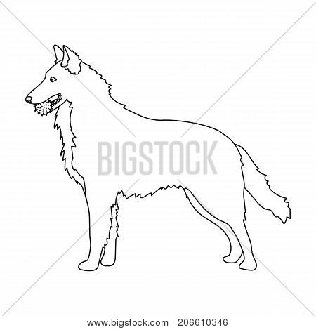 A pet, a dog with a ball in his teeth, a German shepherd. Pet, dog care single icon in outline style vector symbol stock illustration .