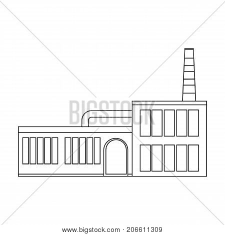 Factory, single icon in outline style.Factory, vector symbol stock illustration .