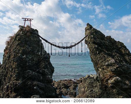 Gunkanjima and Meoto Iwa (Married Couple Rocks) in Nagasaki, Japan