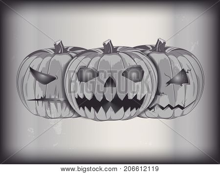 vector black and white frame from an old horror movie. three evil pumpkin the symbol of Halloween