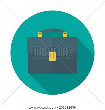 Briefcase circle icon with long shadow. Flat design style. Briefcase simple silhouette. Modern minimalist round icon in stylish colors. Web site page and mobile app design vector element.