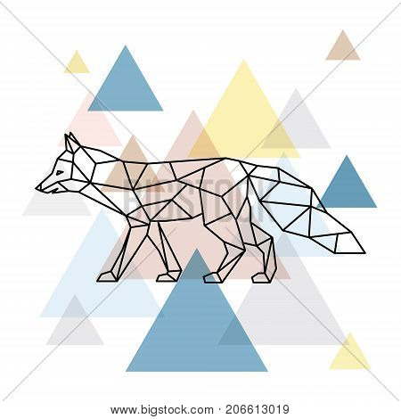 Silhouette of a geometric fox. Side view. Scandinavian style. Vector illustration.