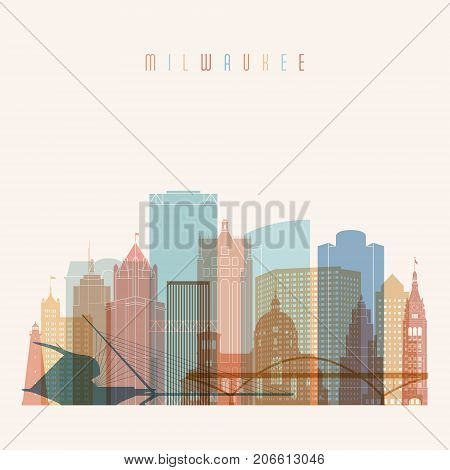 Milwaukee state Wisconsin skyline detailed silhouette. Transparent style. Trendy vector illustration.