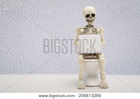 A skeleton working with his laptop while sitting on water closet