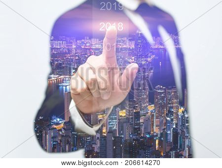 Businessman welcome year 2018. Business new year card concept / soft focus picture