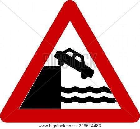 Warning sign with unprotected quayside or riverbank symbol