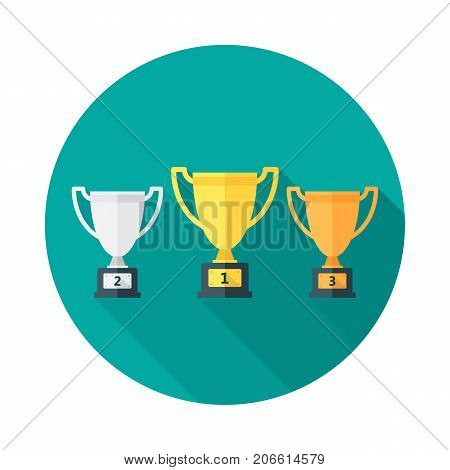Trophy circle icon with long shadow. Flat design style. Gold silver and bronze trophies simple silhouette. Modern minimalist round icon in stylish colors. Web site page and mobile app design vector element.