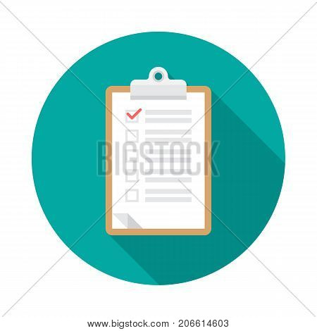 Clipboard circle icon with long shadow. Flat design style. Checklist clipboard simple silhouette. Modern minimalist round icon in stylish colors. Web site page and mobile app design vector element.