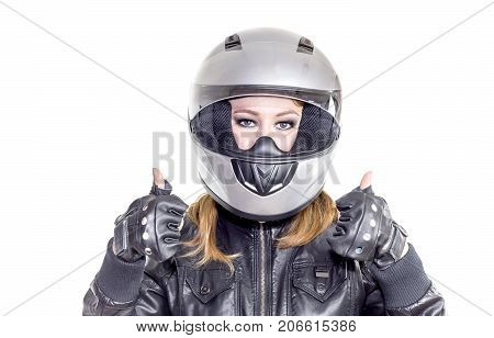 Young girl with a motorcycle helmet on a white background closeup