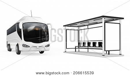 Big White Coach Tour Bus near Bus Station on a white background. 3d Rendering