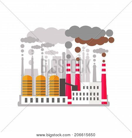 Ecology problem concept. Factory pollutes the enviroment. Plant emitting smoke. Flat vector illustrarion of air pollution. Pollution clouds. Smoke from a factory chimney. Ecological disaster.