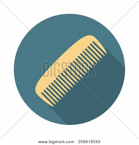 Comb circle icon with long shadow. Flat design style. Comb simple silhouette. Modern minimalist round icon in stylish colors. Web site page and mobile app design vector element.
