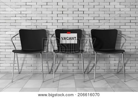 Modern Simpne Office Chairs One with Vacant Sign in front of Brick Wall. 3d Rendering