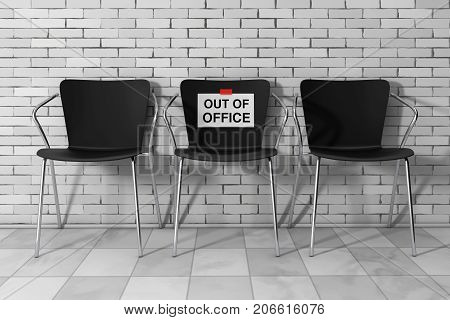 Modern Simpne Office Chairs One with Out of Office Sign in front of Brick Wall. 3d Rendering