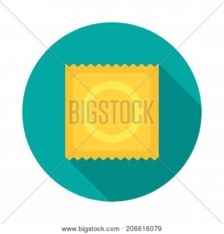 Condom circle icon with long shadow. Flat design style. Condom simple silhouette. Modern minimalist round icon in stylish colors. Web site page and mobile app design vector element.