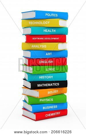 Stack of Coloured School Books on a white background. 3d Rendering