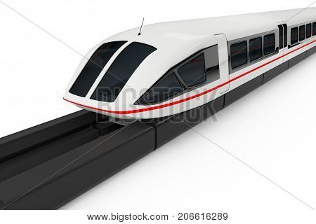 Super High Speed Futuristic Commuter Train on a white background. 3d Rendering