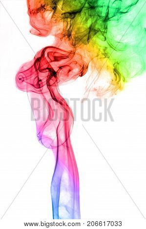 Abstract Art Colorful Smoke on a white background
