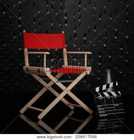 Cinema Industry Concept. Red Director Chair Movie Clapper and Megaphone on a black background. 3d Rendering