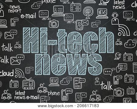 News concept: Chalk Blue text Hi-tech News on School board background with  Hand Drawn News Icons, School Board