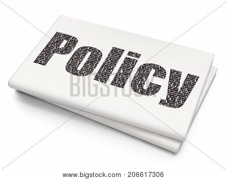 Insurance concept: Pixelated black text Policy on Blank Newspaper background, 3D rendering