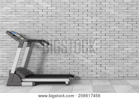 Treadmill Machine in frount of Brick Wall with Blank Space for Yours Design extreme closeup. 3d Rendering