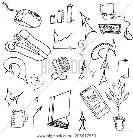 Set of hand drawn business elements, vector.