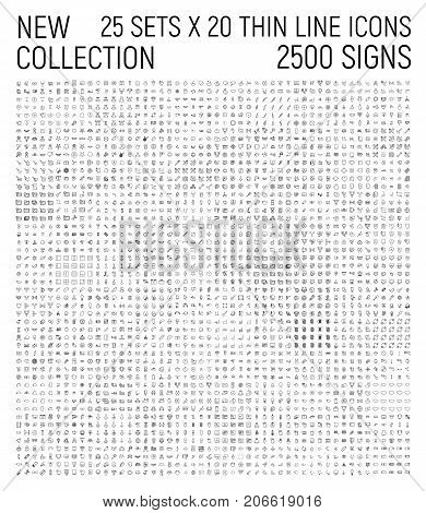 Big collection of 25 sets thin line icon. Premium pack of 2500 signs. Every set contains 20 icons. Vector illustration isolated on a white background. Award, business, management, nature, etc.