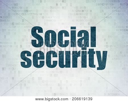 Protection concept: Painted blue word Social Security on Digital Data Paper background