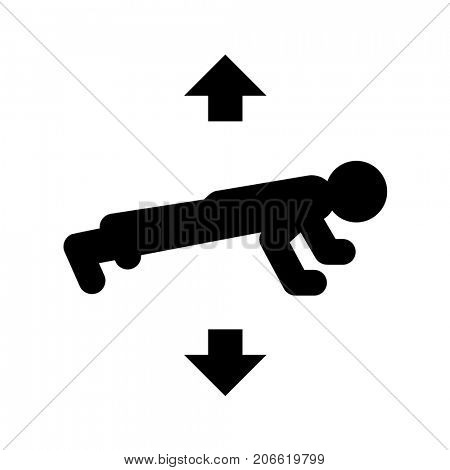 Black push ups icon isolated on white