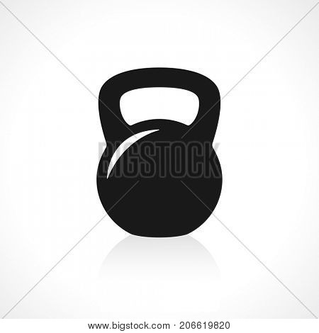 Black kettlebell icon with reflection on gray background