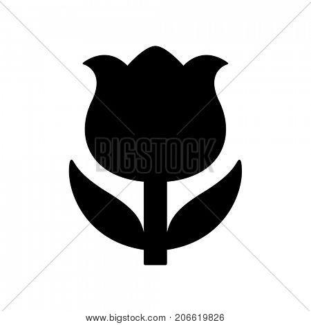 Black flower icon isolated on white