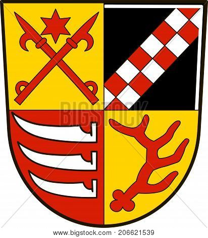 Coat of arms of Oder-Spree is a district in the eastern part of Brandenburg Germany. Vector illustration from the