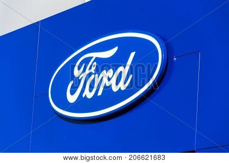 Prague, Czech Republic - September 29: Ford Motor Company Logo On Dealership Building On September 2